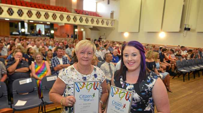 Australia day awards and Citizenship ceremony in Gympie Marlene Owen and Mikaela Calvert.