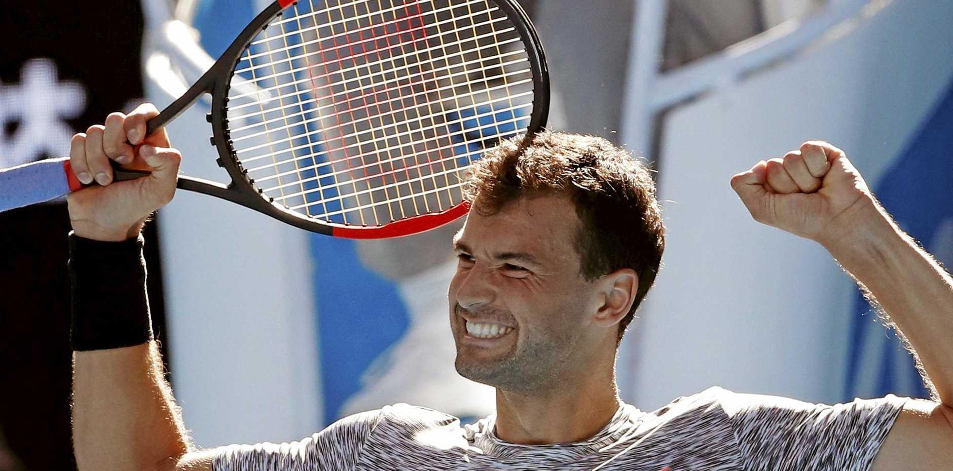 Bulgaria's Grigor Dimitrov celebrates defeating Belgium's David Goffin in the Australian Open quarter-finals.