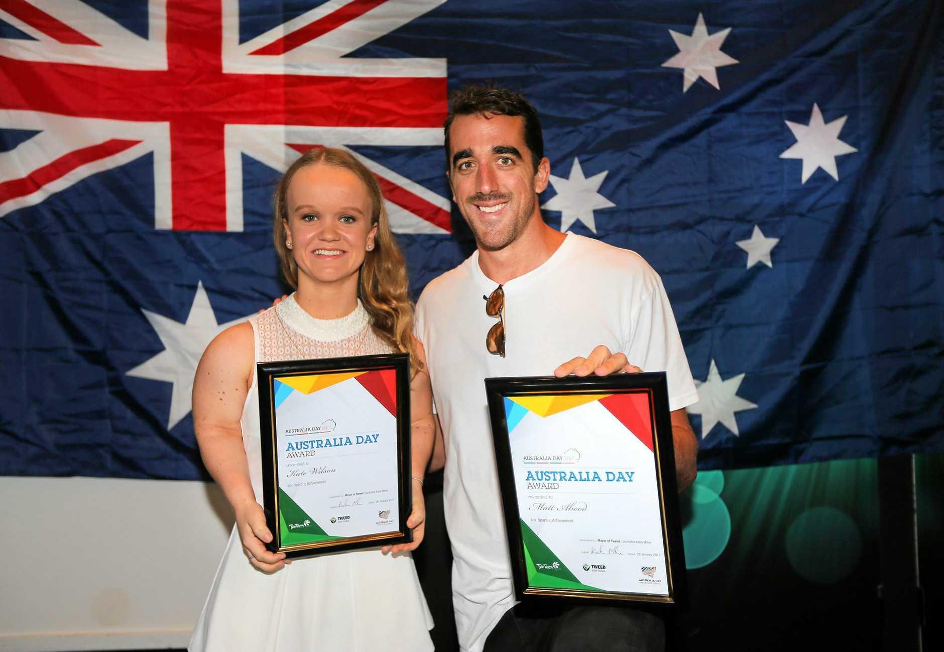 Tweed Shire Australia Day Sporting Acheivement of the Year award winners , Kate Kate Wilson and Matt Abood.