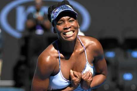 Venus Williams celebrates her win against CoCo Vandeweghe