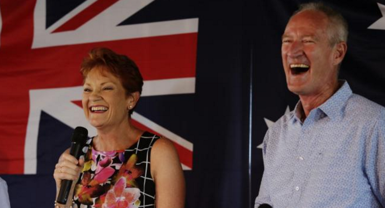 Pauline Hanson and Steve Dickson at a One Nation appearance for Australia Day at the Buderim Tavern. Picture: Lachie Millard