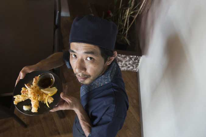 Ichi Japanese Restaurant chef Tim Hsieh with tempura prawns, one menu item that will be affected by the prawn import ban.