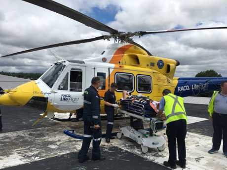 A man was airlifted to hospital by RACQ LifeFlight Rescue after a single-vehicle crash on the New England Hwy near Cooyar.
