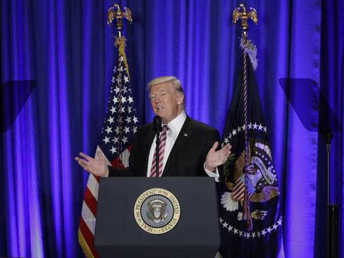 President Donald Trump speaks at the Republican congressional retreat in Philadelphia, Thursday, Jan. 26, 2017.