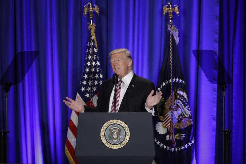 President Donald Trump speaks at the Republican congressional retreat in Philadelphia, Thursday, Jan. 26, 2017.