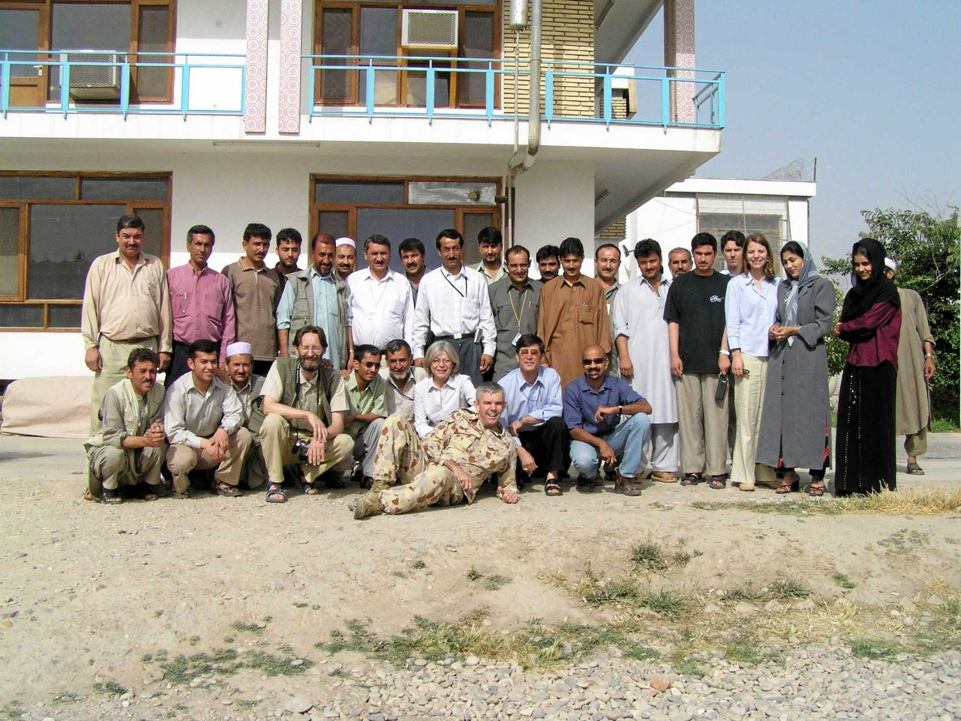 Members of the UN Mission to Afghanistan gather to farewell Chris Mead (centre, with Michele behind him) in 2004.