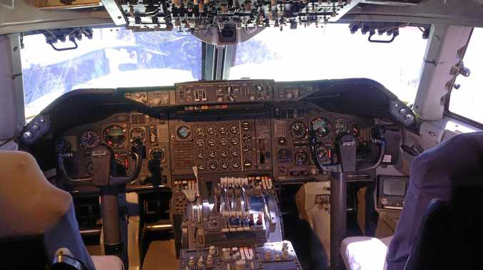 Inside the flight deck of the Boeing 747 at Qantas Founders Museum at Longreach.