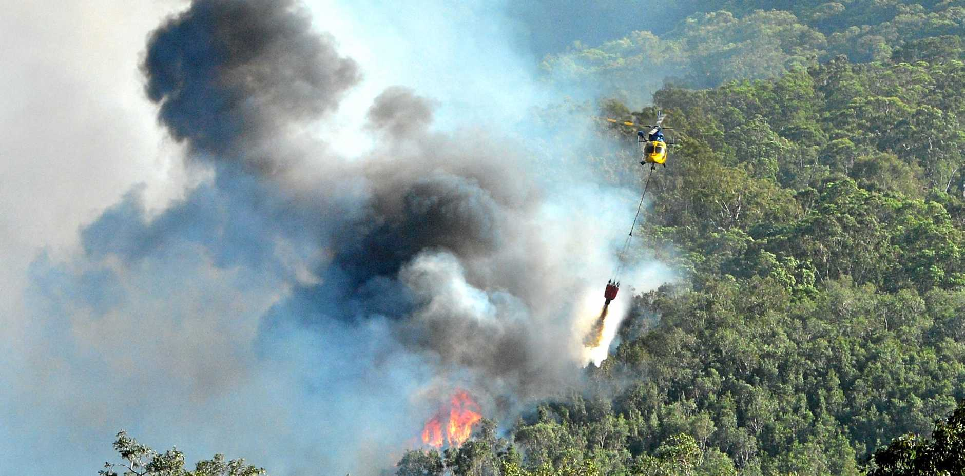 Day 2 of the bushfire near Coolum Industrial Park. Water bombing continued near Arcoona Road.