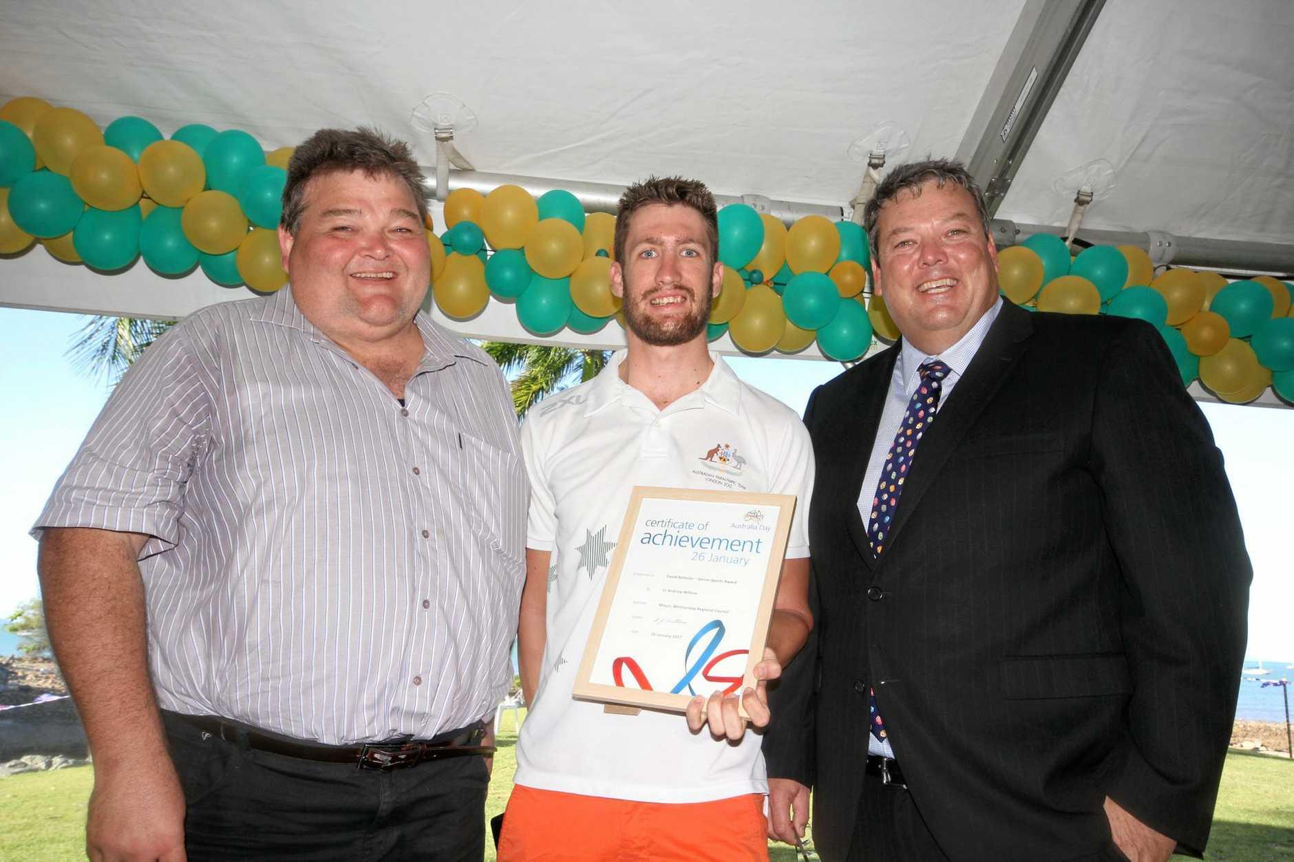 Cr John Collins with senior sports award David Nicholas and mayor Andrew Willcox.