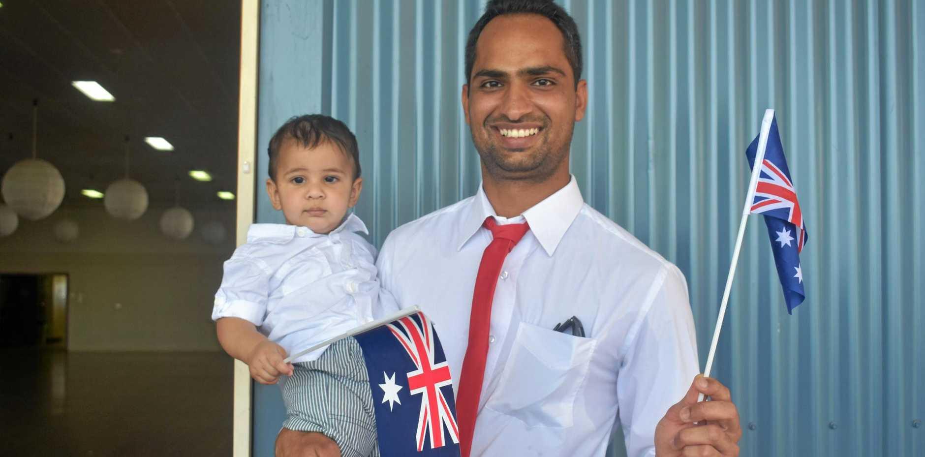 AUSTRALIA DAY: New citizen Harry Dhillon with his son, Arjun, at Australia Day celebrations in Dalby.
