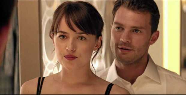 SCREENING: Dakota Johnson and Jamie Dornan in a scene from the first trailer for the movie Fifty Shades Darker.