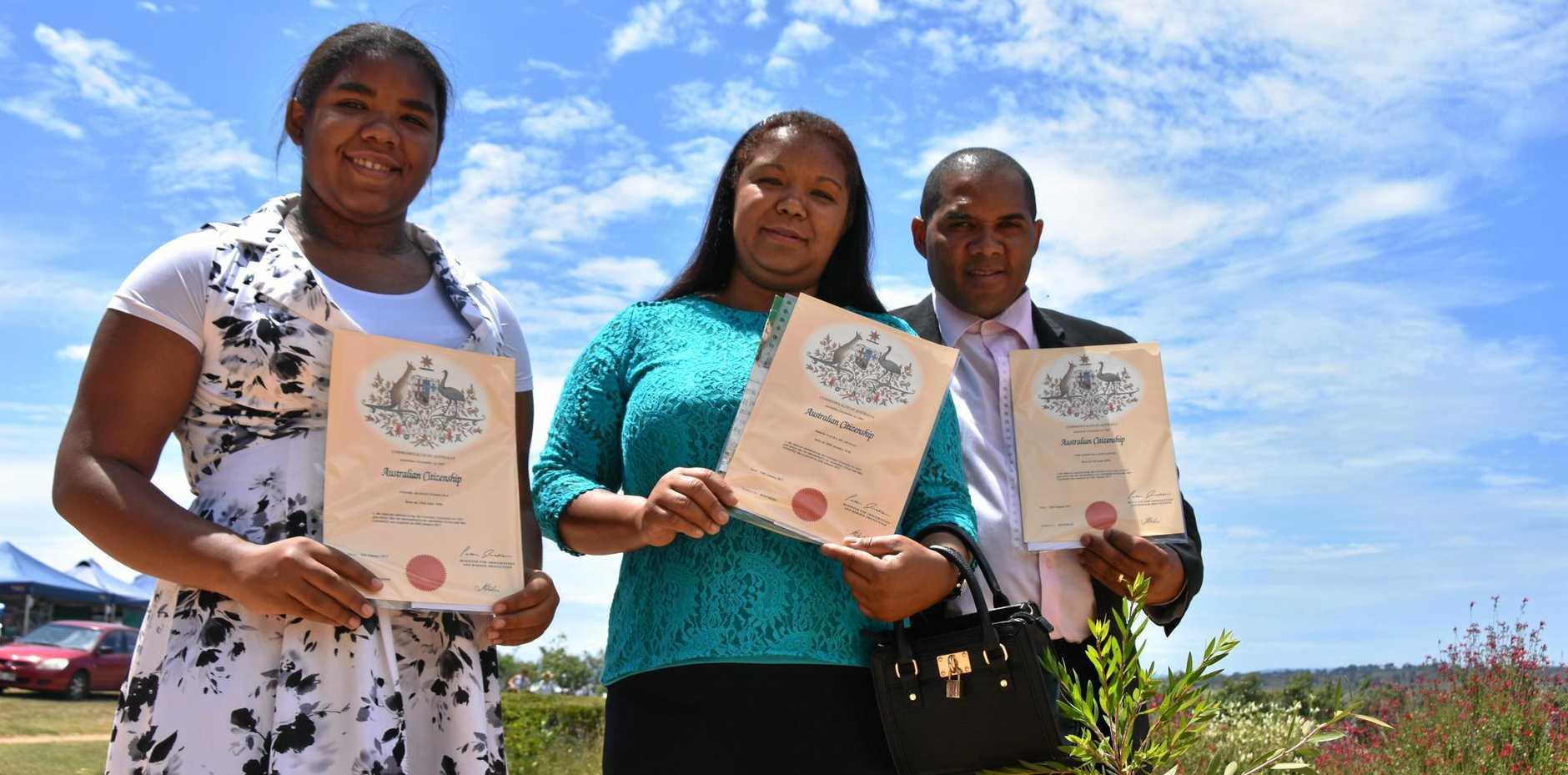 PROUD MOMENT: Eduarda Aranja Ferreira, Daniela Viera de Araujo and Joao Dossantos celebrated their first Australia Day as citizens.