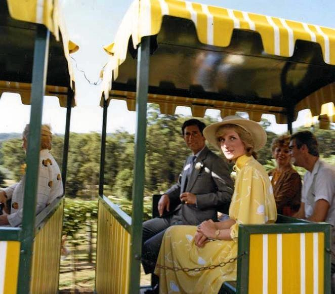 Princess Diana and Prince Charles visit the Big Pineapple in 1983.   Image from the Queensland State Archives. [Digital Image ID 7998. Item ID 1460350.]