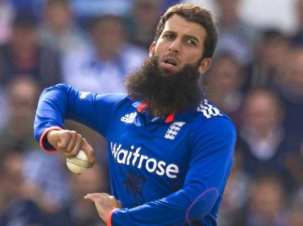 England's Moeen Ali comes in to bowl.