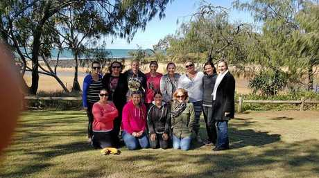 Spending time together: A group of mothers rally together to support friend Hope Butcher. From back left: Stephanie Lawson, Kisha Runge, Dee Larfield(Raffle Co ordinator), Kayla Rozycki, Hope Butcher, Amanda Ross, Shannon Kitching, Michelle Baumgartner, Front row from left:Kellie Dexter, Tara Smith(Movie fundraiser organizer), Contessor Wales, Brony Herman.Photo Contributed