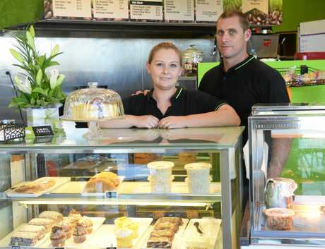 NEW VENTURE: Hope and Jamie Butcher on the day of their grand opening of their coffee shop. Photo: Mike Knott / NewsMail