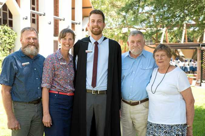 FAMILY AFFAIR: Concordia Lutheran College has welcomed the fifth member of a family to the college staff Isaac Heuschele (centre) with his parents (from left) David Heuschele and Dr Margy Heuschele and grandparents Pastor Merv Heuschele and Mary Heuschele.