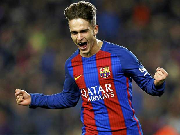 FC Barcelona midfielder Denis Suarez celebrates a goal against Real Sociedad.