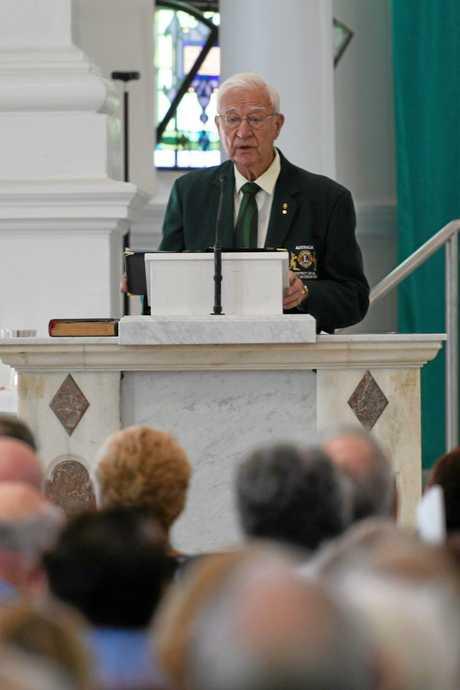 FUNERAL: Lions Representative Peter Donghi remembers John Faircloth at the Holy Rosary Catholic Church in Bundaberg.
