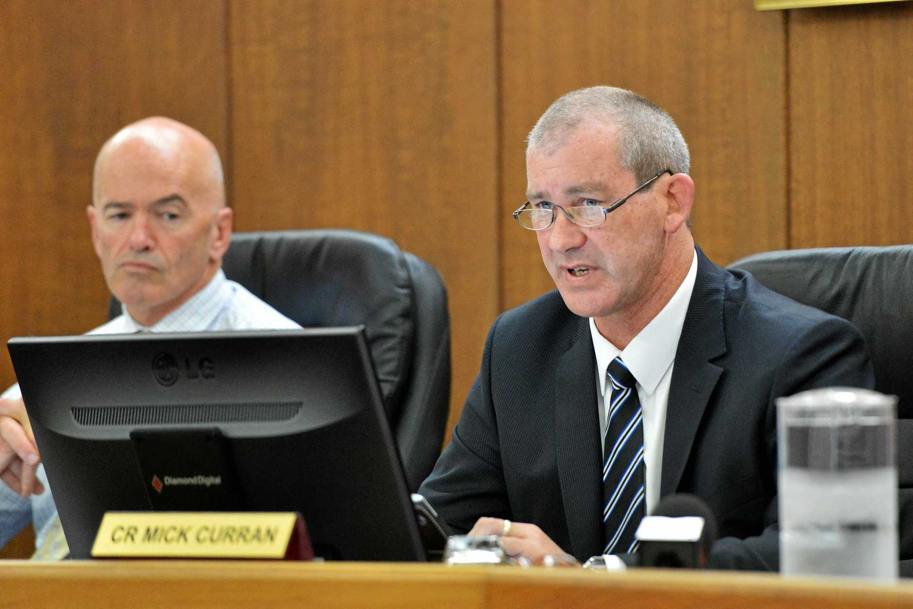Gympie Regional Council bring down their first budget under Mayor Mick Curran.   Mayor Mick Curran addressing council.    Photo Greg Miller / Gympie Times
