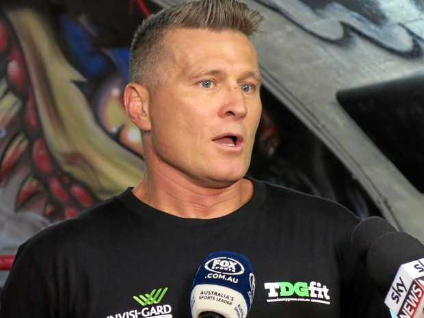Australian boxer Danny Green speaks to the media.