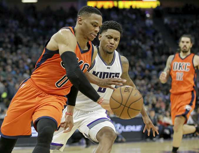 BENCH: Oklahoma City Thunder guard Russell Westbrook (left) is a reserve for the NBA All-Star Game.