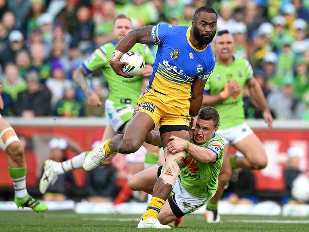 Semi Radradra of the Eels is tackled by Jack Wighton of the Raiders.