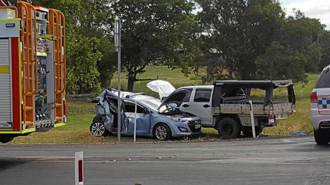 COLLISION: One person was trapped following the crash.