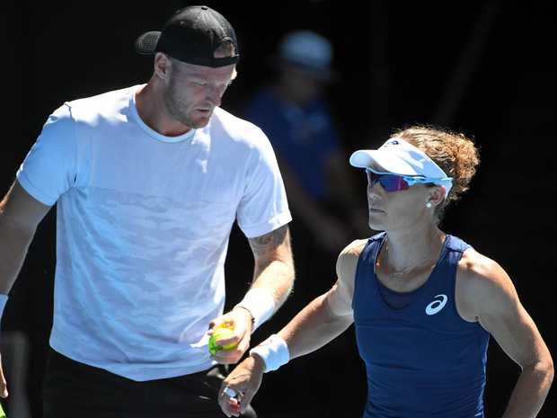 Sam Groth and Samantha Stosur of Australia in action in the mixed doubles semi-finals.