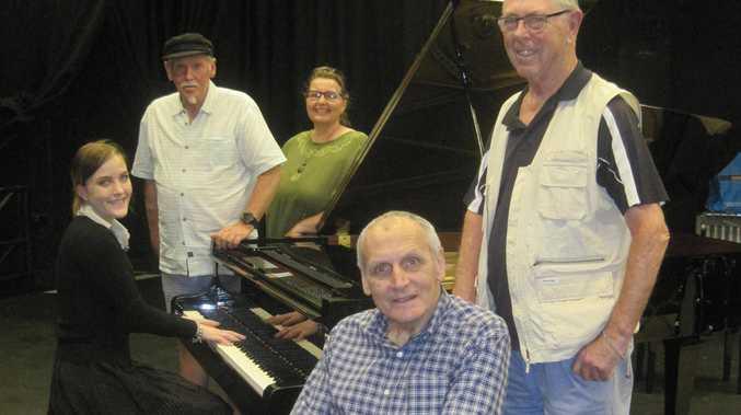 From left: Jess Betts (on piano); Johno Johnson; Clare Birchley; John Dieckmann; Joe Chalmers.