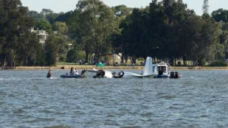 The plane broke into pieces as soon as it hit the water.