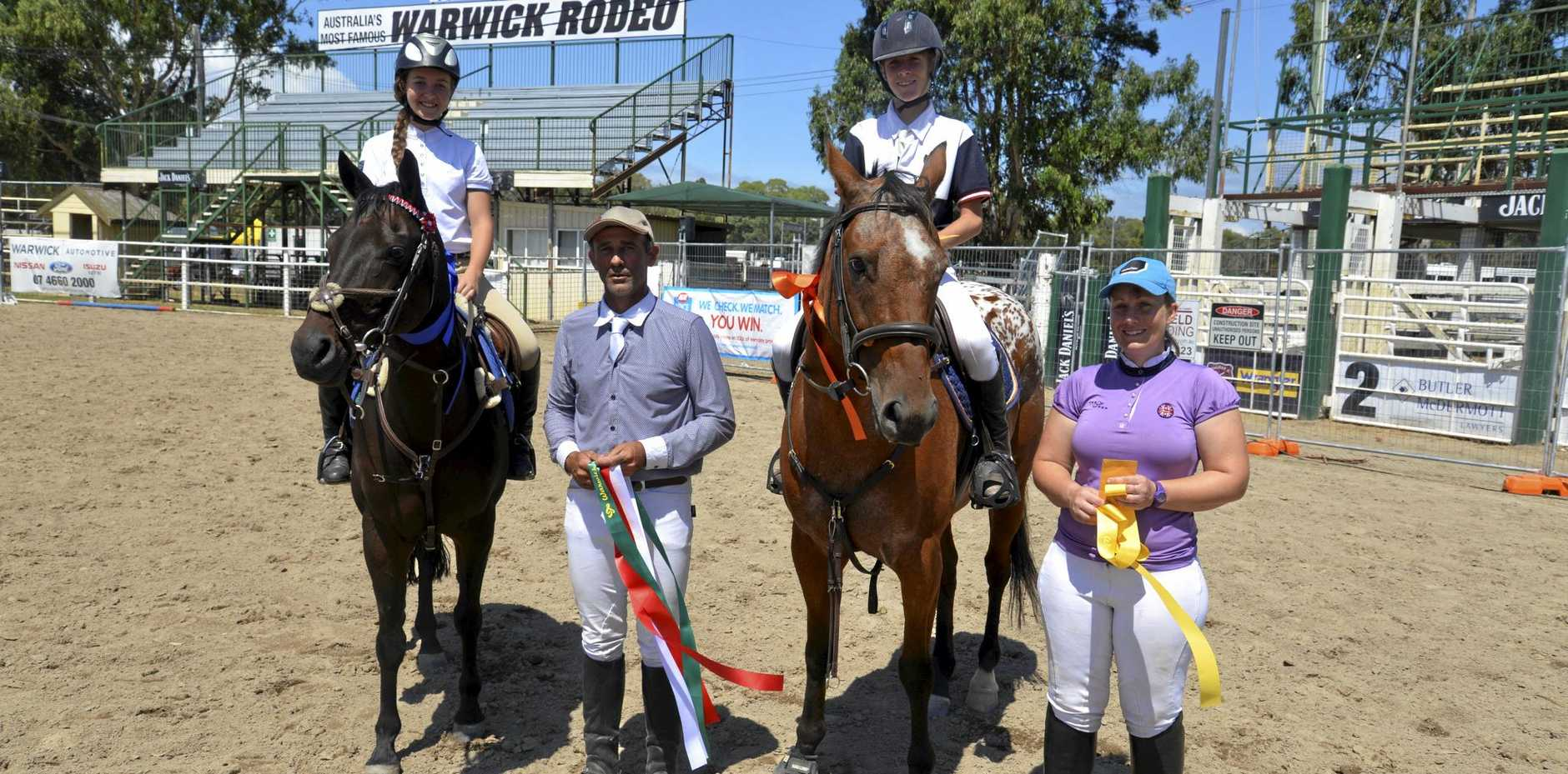 READY TO RIDE: Show-jumping winner Nikki Burraston riding Dakota with Brock Harvey (2nd, 3rd and 5th), William Wood riding Cupcake (4th) and Kate Hurley (6th) at the 2016 Warwick Show.