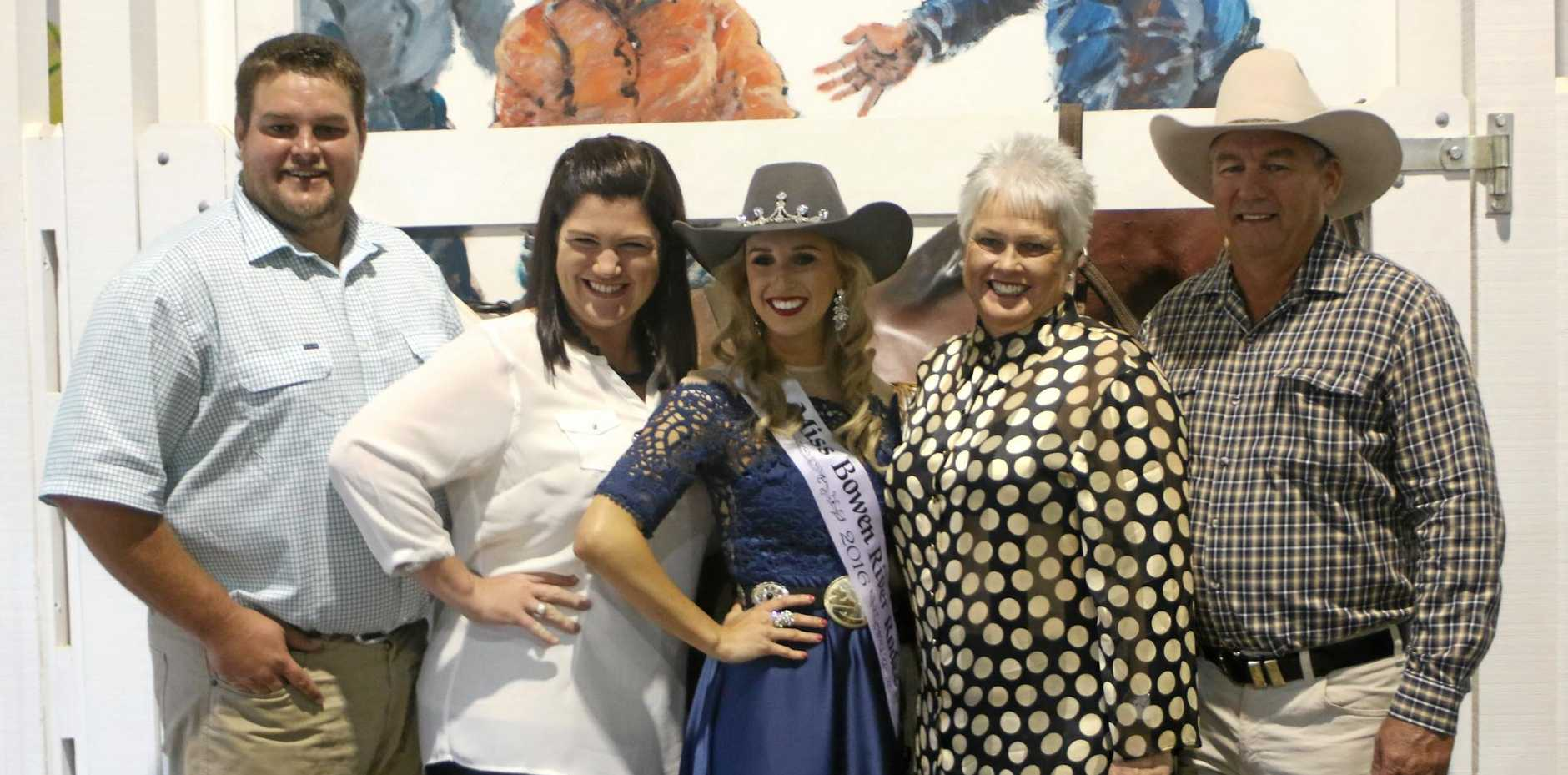 Miss Rodeo Australia entrant Emma Deicke (centre) representing Bowen River, with her family Joh, Clare, Pauline and Marvin Deicke at the Rodeo Heritage Centre.