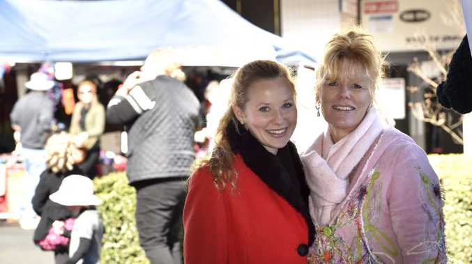 Having a fantastic morning at the Margaret St Markets are Melissa (left) and Dawn Williams.