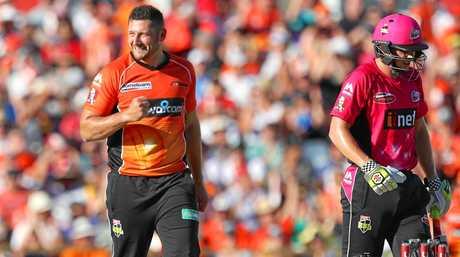 Tim Bresnan celebrates dismissing Sean Abbott