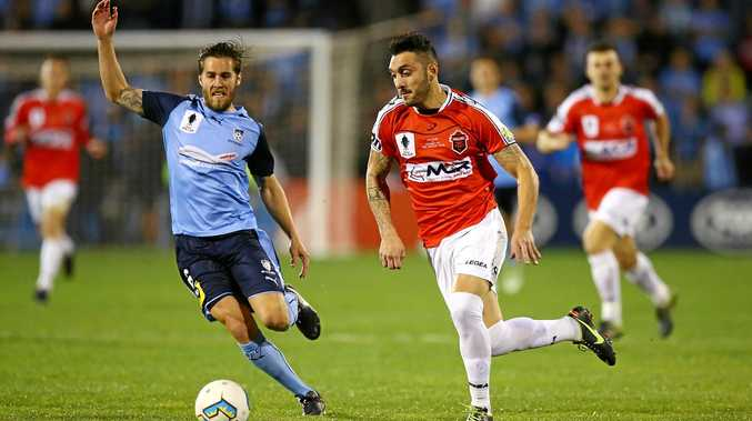 Nicholas Bernal of the Wollongong Wolves in action in the FFA Cup against Sydney FC.