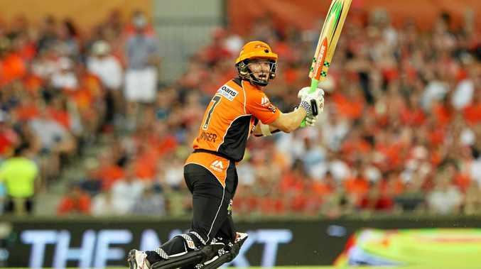Michael Klinger of the Perth Scorchers in action during the Big Bash League grand final.