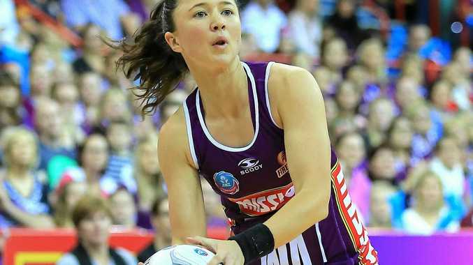 Caitlyn Nevins playing for the Queensland Firebirds.