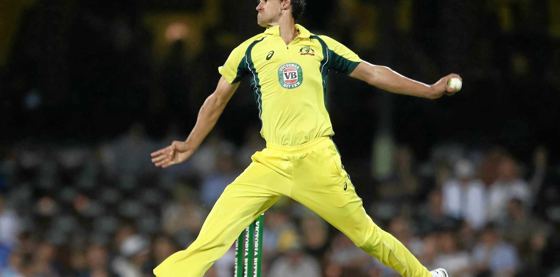Mitchell Starc of Australia bowls against New Zealand at the SCG in December.