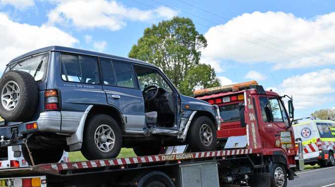 A man was rushed to hospital after a car crash on the Bruxner Highway between Lismore and Casino.