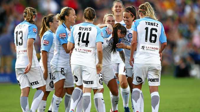 Amy Jackson celebrates with Melbourne City teammates after scoring a goal during the round 14 W-League match against the Newcastle Jets at Coffs Harbour International Stadium