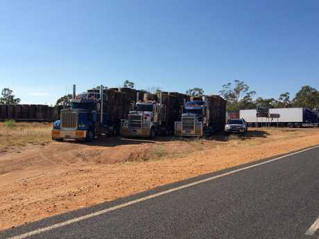 Trucks from the Burrumbuttock hay run wait to join the convoy in Augathella.