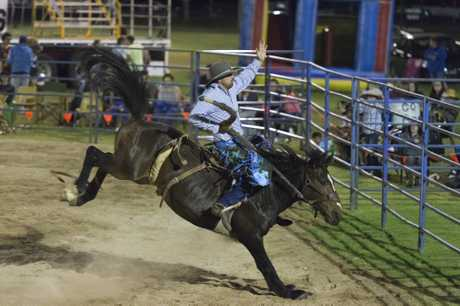 Biddeston cowboy Michael Neiland in action at a rodeo held at Oakey last year.