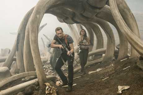Tom Hiddleston and Brie Larson in a scene from the movie Kong: Skull Island.