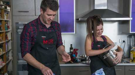 Tasmania's Damo and Caz Aherne pictured during their instant restaurant on My Kitchen Rules.