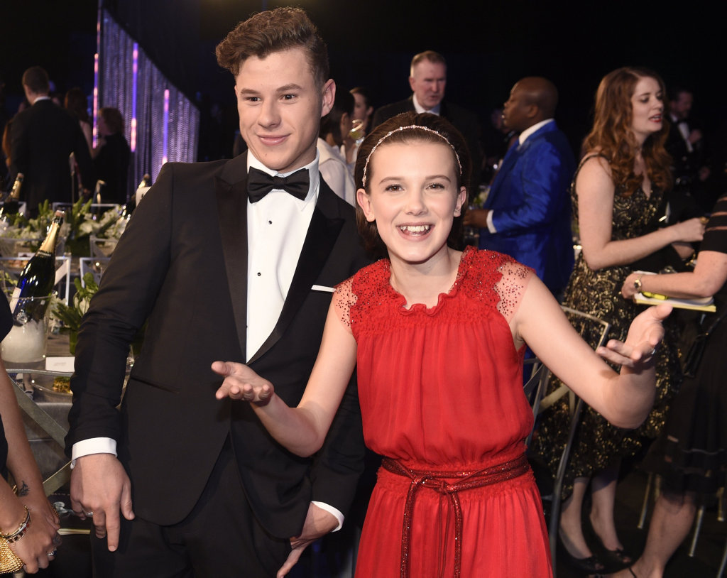Nolan Gould, left, and Millie Bobby Brown attend the 23rd annual Screen Actors Guild Awards at the Shrine Auditorium & Expo Hall on Sunday, Jan. 29, 2017, in Los Angeles.