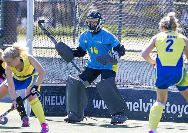 NEW SURROUNDS: Maryborough goalkeeper Grace O'Hanlon, pictured playing for ACT Strikers in the Australian Hockey League, has moved to New Zealand where she will play for the Black Sticks.