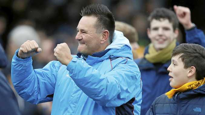 Sutton United's manager Paul Doswell celebrates after his team beat Leeds.