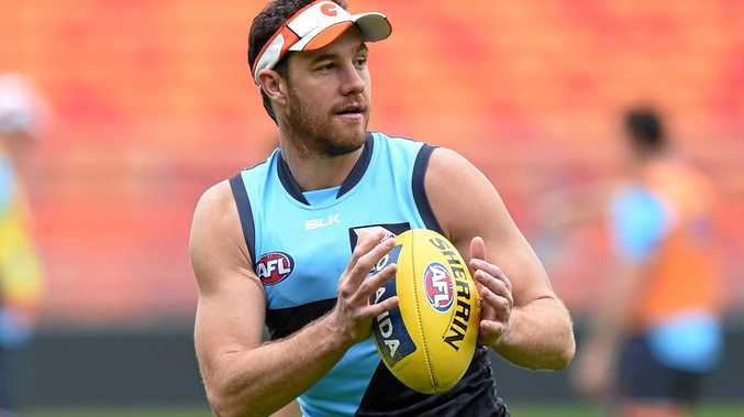 Greater Western Sydney Giants player Shane Mumford takes part in a training session in Sydney