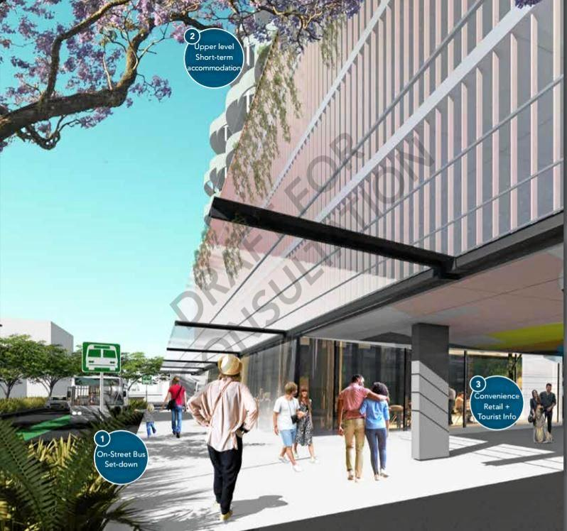 An artist impression of the street view of the inter-modal transport hub.